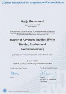 Diplom Master of Advanced Studies in Berufs-, Studien- und Laufbahnberatung